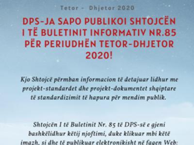 DPS publikon Shtojcën I të Buletinit Nr. 85